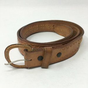 Mens 42 Leather-Covered Buckle Basic Belt Brown Le
